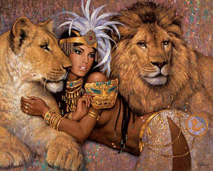 Priestess with lions by Karl Bang